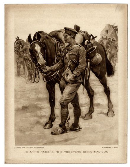 1916 WW1 Print TROOPER CHRISTMAS BOX Sharing Rations Horse STANLEY L. WOOD Sepia Style